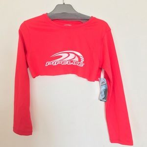 Pipeline red cropped longsleeve shirt